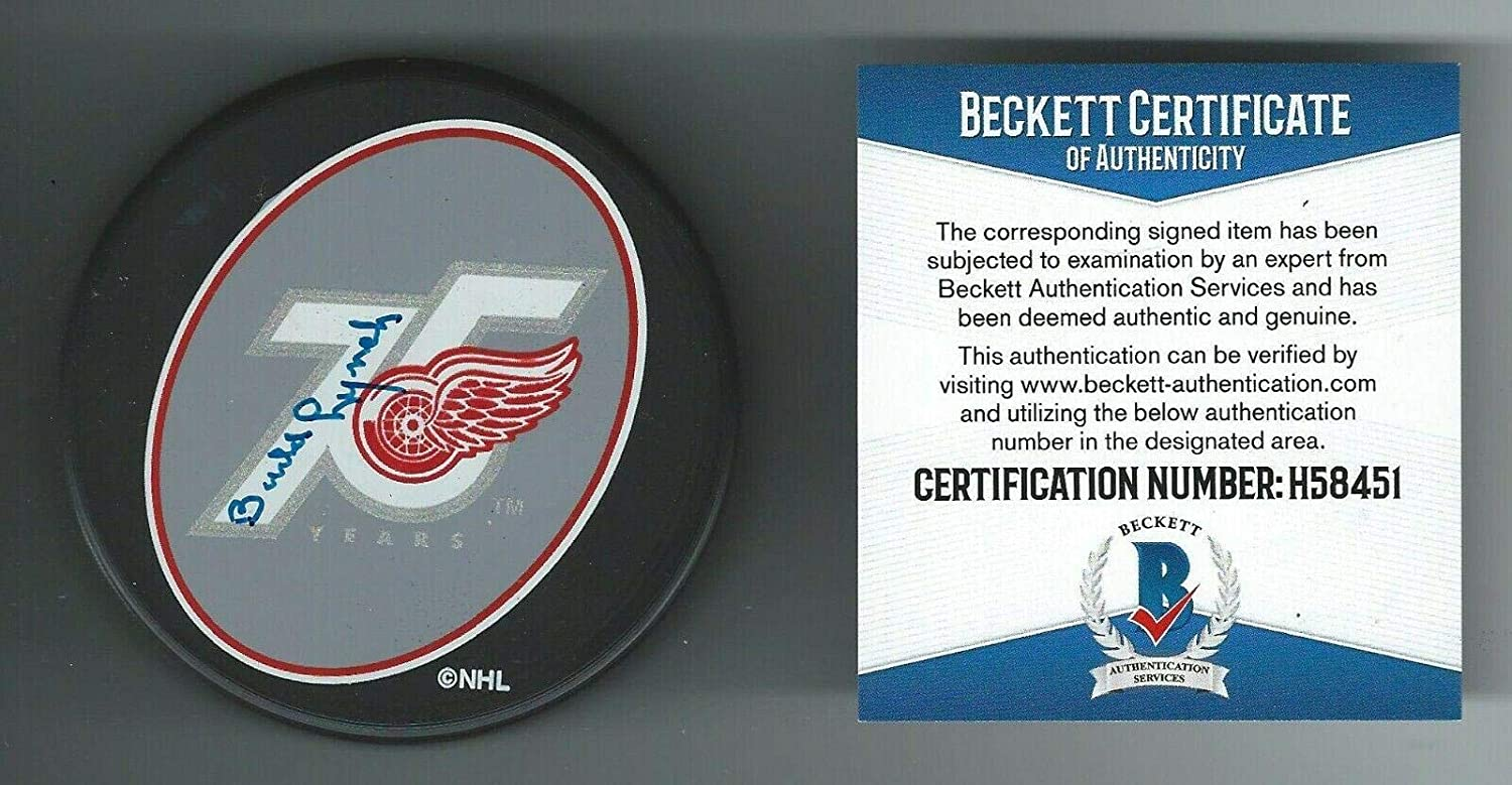 Budd Lynch Signed Detroit Red Wings 75th Anniversary Puck Beckett COA - Beckett Authentication - Autographed NHL Pucks