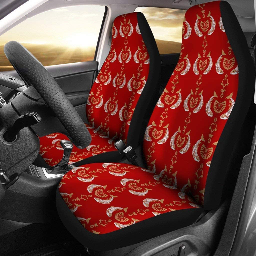 Fish Patterns On Red Print Car Seat Covers