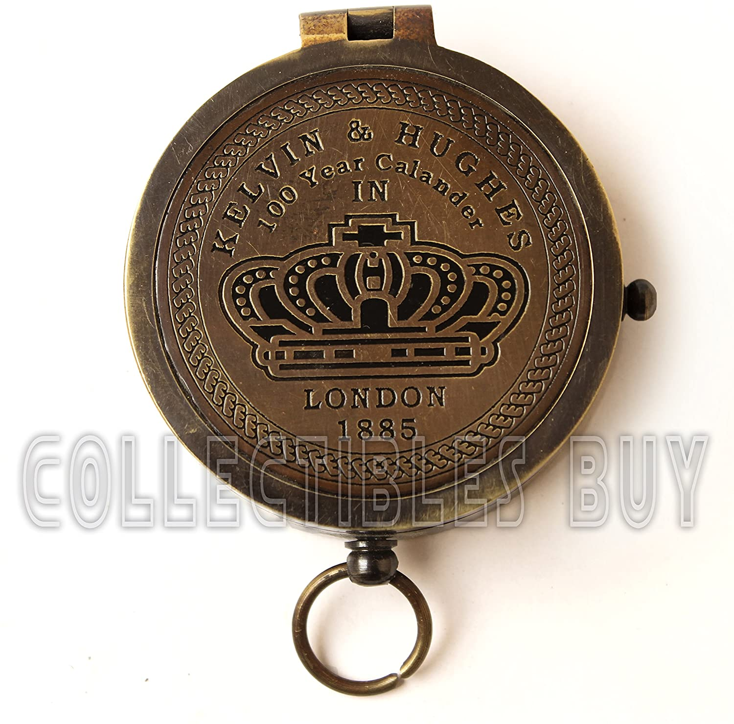 collectiblesBuy Brass Compass Vintage Finish Kelvin Hughes 100 Year Calendar Compasses lid Compass