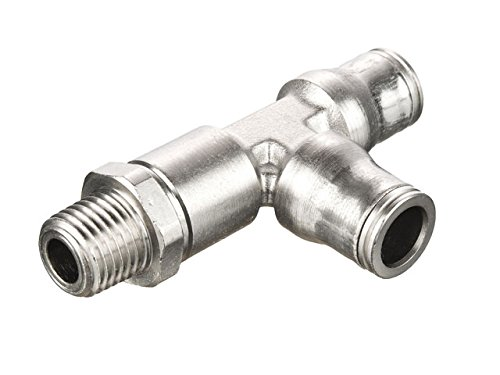 Parker 171PLM-6M-2R Prestolok PLM Metal Push-to-Connect Fitting, Tube to Pipe, Nickel Plated Brass, Push-to-Connect and Male BSPT Run Tee, 6 mm and 1/8
