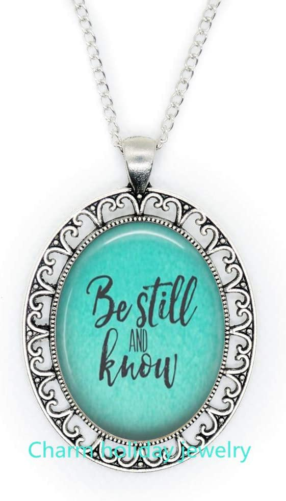 Be Still and Know,Religious Jewelry,Pendant Wearable Art Religious Necklace,Be Still and Know Necklace-#393