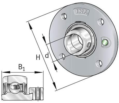 Flange-Mount Ball Bearing Unit - Four-Bolt Piloted, 40 mm Bore, Cast Iron Housing, Eccentric Collar Locking, Double Lip