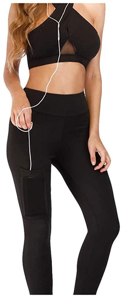 JOFOW Leggings Womens Solid Basic Side Thigh Pocket Sport Pants