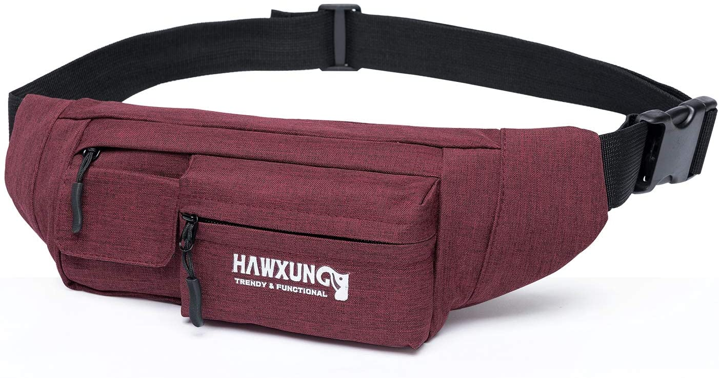 HΛWXUNG Fanny Pack for Men Women Waist Bag Hip Bum Pack, Separate Pockets Adjustable Strap for Workout Traveling Casual Running Hiking Cycling Dog Walking Fishing Carrying Any Phone Passport Wallet