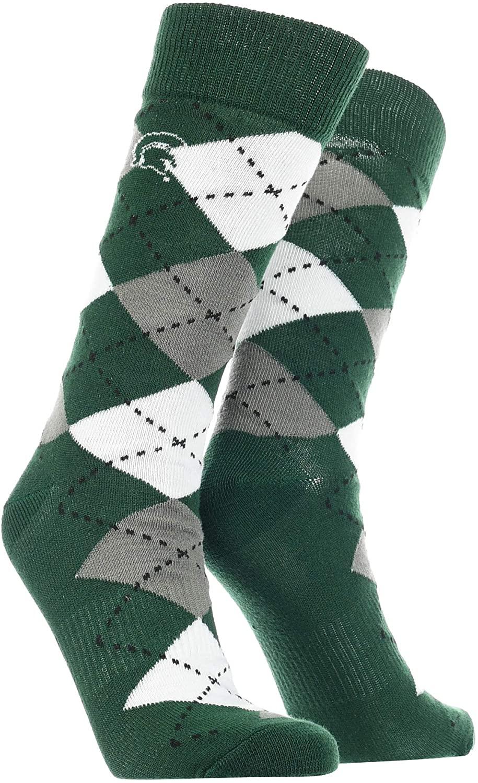 TCK Michigan State Spartans Argyle Dress Socks NCAA Fanwear Crew Length