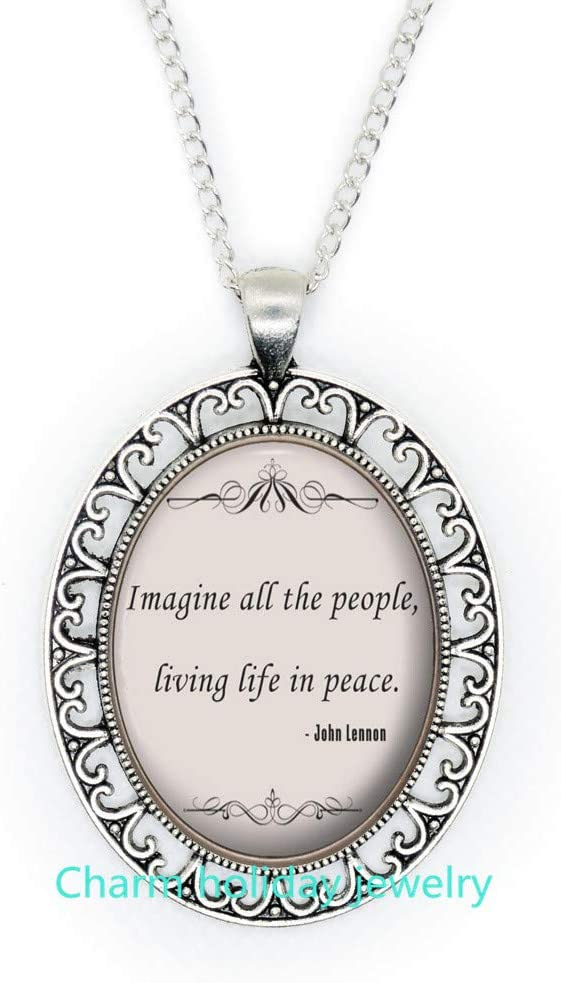 Quote Pendant-Imagine Song Necklace-Song Lyric Quote-Jewelry Gift for Women and s Bridesmaid Jewelry Unique Jewelry-#285