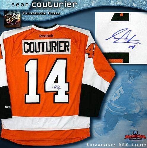 Sean Couturier Signed Jersey - Orange Reebok Premier - Autographed NHL Jerseys