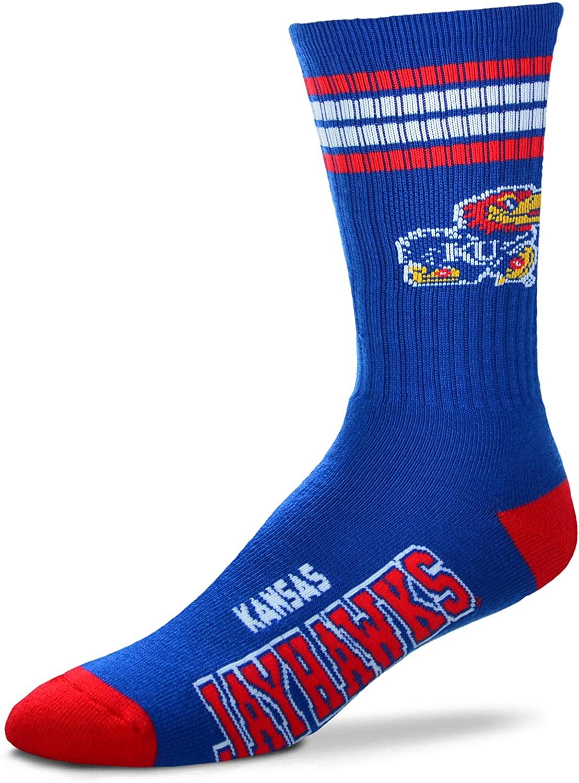 For Bare Feet NCAA 4 Stripe Deuce Crew Children (Boys/Girls) Socks-Kansas Jayhawks-Size Child (6-11)