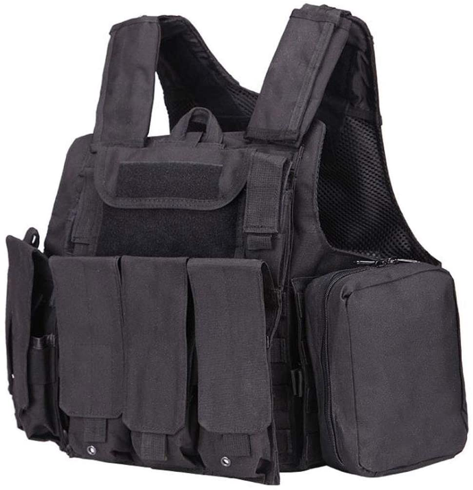 Tactical Molle Airsoft Vest Paintball Combat Vest - Fast Release System - 600D Waterproof Encryption Oxford Cloth