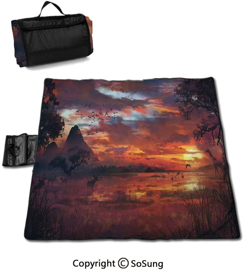 House Decor Picnic Blanket with Tote,Wide Waterfall Deep down in the Forest Seen from A City Window Epic Surreal Decorative Print Foldable & Waterproof Camping Mat for Outdoor Beach Hiking Grass Trave