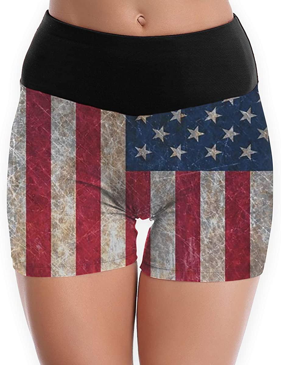 CHEERPEACETIME Women Yoga Shorts Pants America Flag High Waist Workout Running Stretch Legging