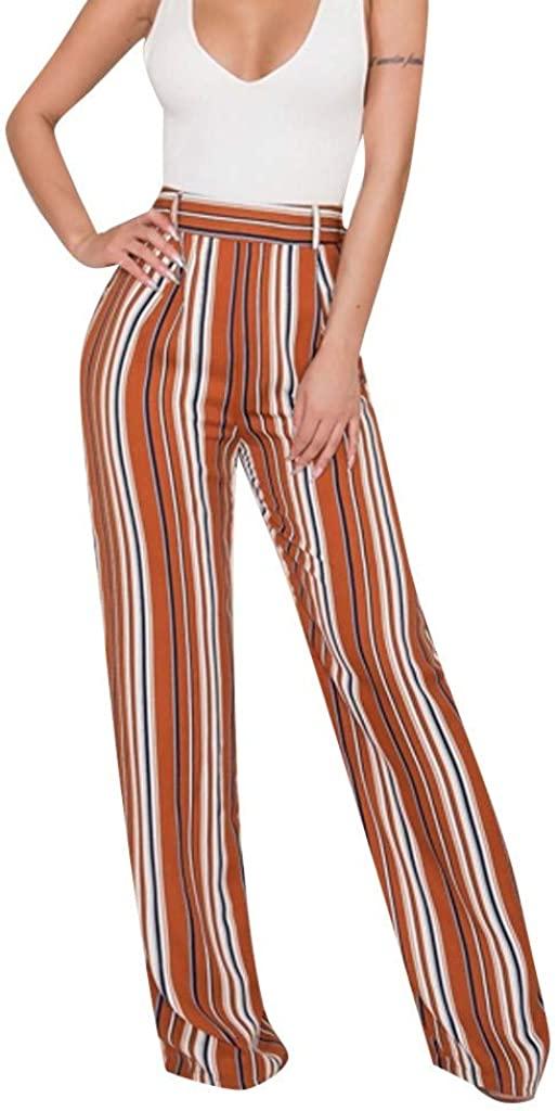 ZEFOTIM Casual High Waist Pants, Women Striped Wide Leg Pants Sweet Pockets Female Casual Chic Loose Trousers
