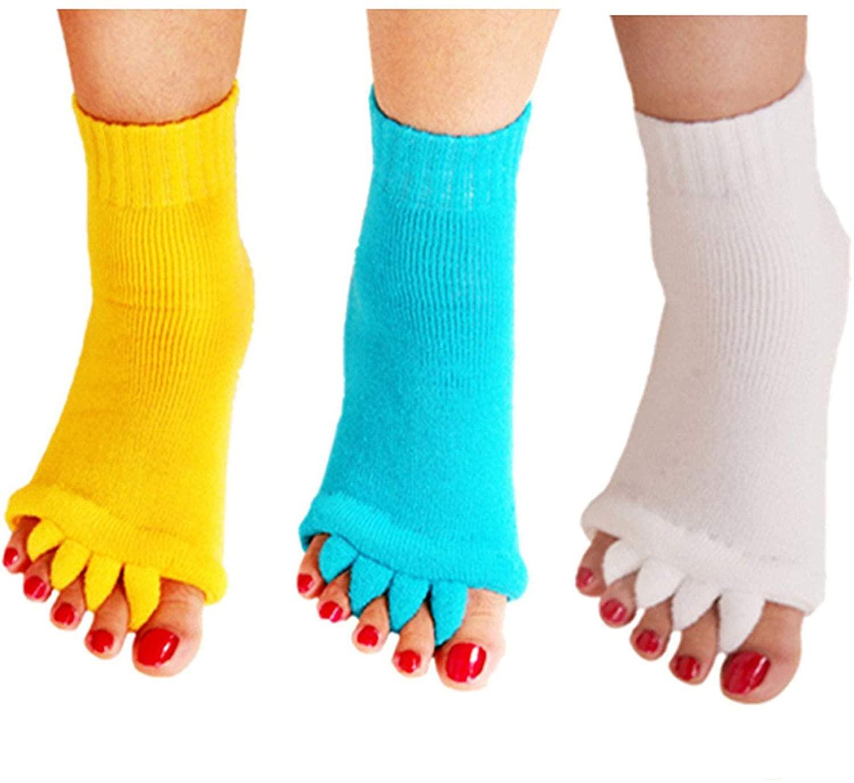 Minjie Womens Comfy Toes Foot Alignment Socks Yoga Gym Massage Half Toe Socks 3 Pack(Yellow+SkyBlue+White)