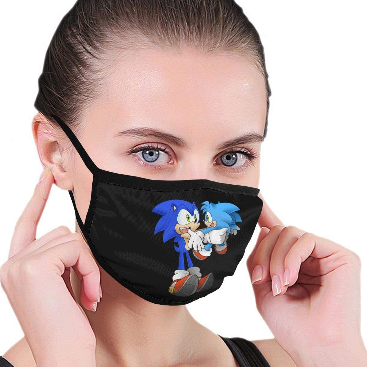 Qwtykeertyi Sonic The Hedgehog Fashion Protective Reusable Unisex Black Cotton Washable Balaclava