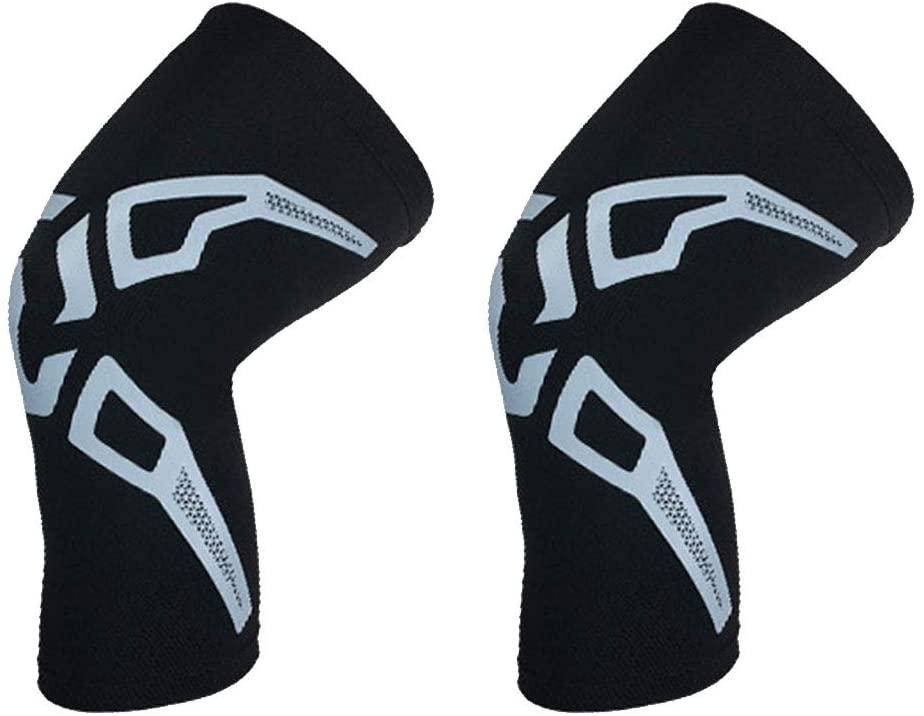 FANLI Thin Lightweight Knee Pads, Breathable Knee Sleeve Anti-Slip Elastic for Volleyball Basketball Football-Black+Gray XL