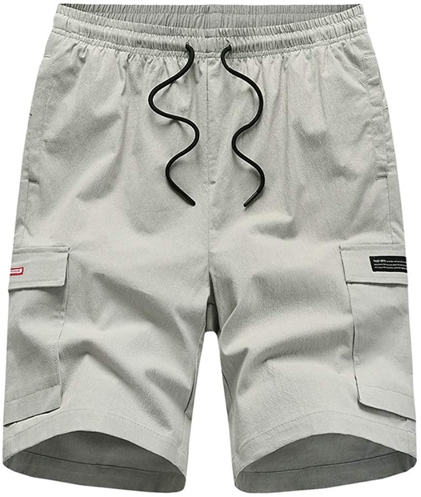 Hattfart Men's Drawstring Shorts Elastic Cargo Shorts Multi-Pocket Outdoor Sport Shorts