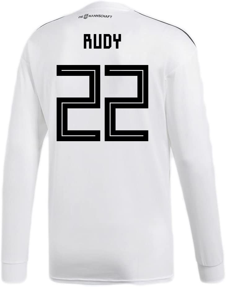 adidas Rudy #22 Germany Home Soccer Long Sleeve Stadium Jersey World Cup Russia 2018