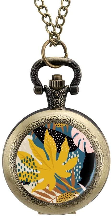 BYRON HOYLE Pocket Watch Painted Tropical Banana Leaf Jungle Quartz Pendant Plant Summer Fob Necklace Locket with Chain for Men Women