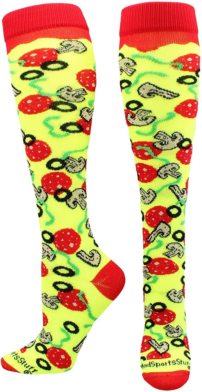 MadSportsStuff Pepperoni Pizza Athletic Over The Calf Socks