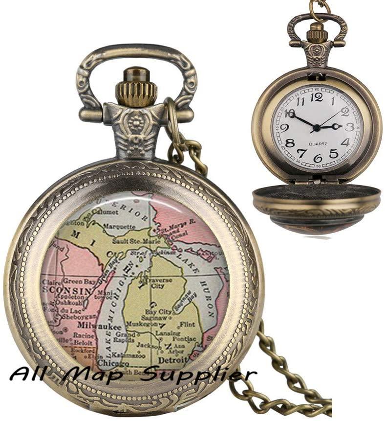 AllMapsupplier Fashion Pocket Watch Necklace,Michigan State map Pendant,Michigan map Jewelry,map Pocket Watch Necklace Resin Pendant,map Jewelry Michigan Pendant,A0225