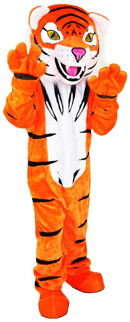 Orange Tiger Cartoon Costume Mascot Plush with Mask for Adult Cosplay Party Halloween Dress Up
