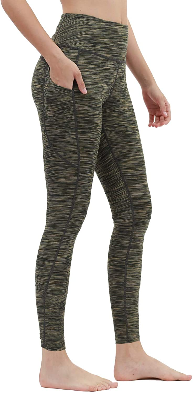Liangxing High Waist Yoga Pants for Women Side Pockets with Sports Leggings Green L