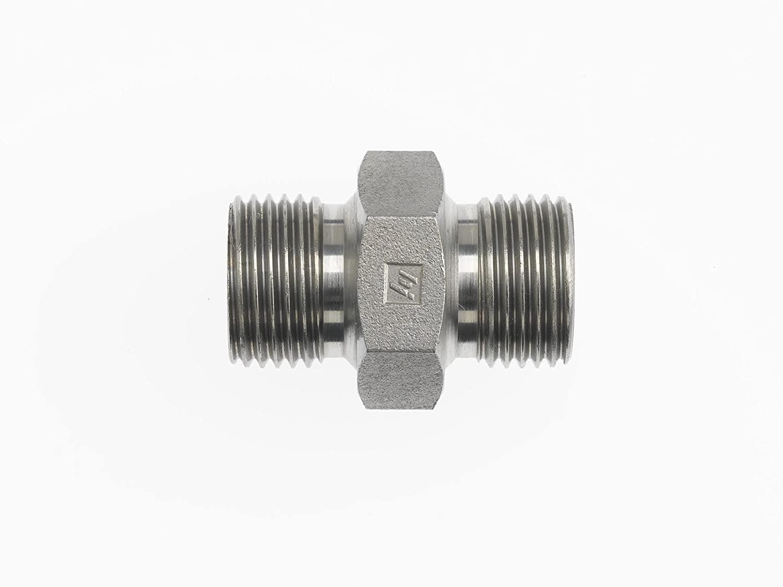 Brennan Industries 9022-08-06 Steel Straight Nipple Conversion Adapter Fitting, 1/2-14 Male BSPP x 3/8-19 Male BSPP