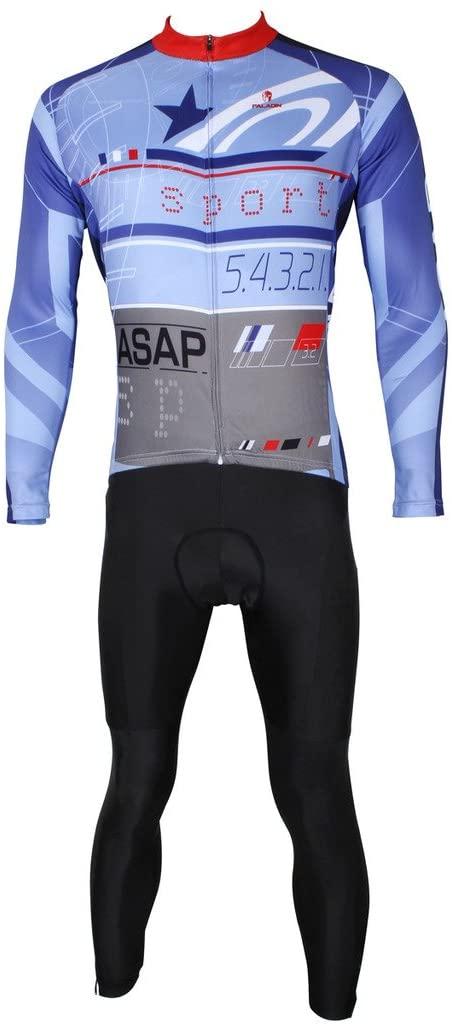 PaladinSport Men's Long Sleeve Pro Cycling Jerseys Ciclismo Ropa and Bike Set