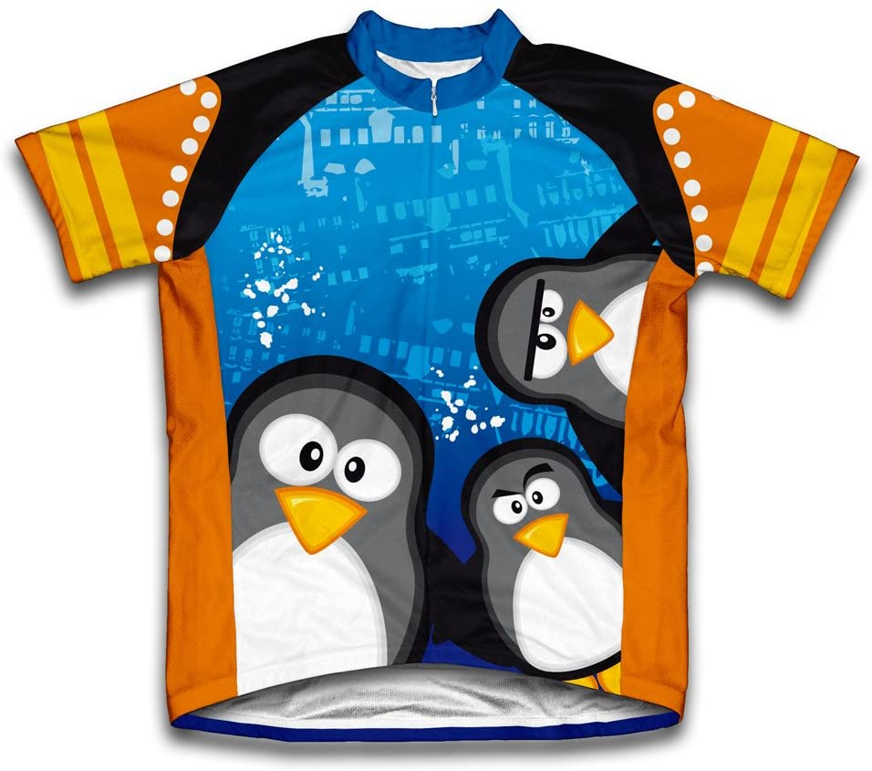 ScudoPro Curious Penguins Short Sleeve Cycling Jersey for Men