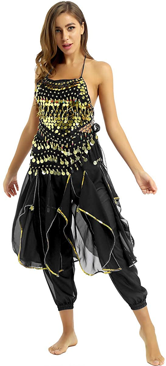 TiaoBug Women's Belly Dance Costumes Halter Neck Padded Top with Gold Trim Harem Pants and Hip Scarf