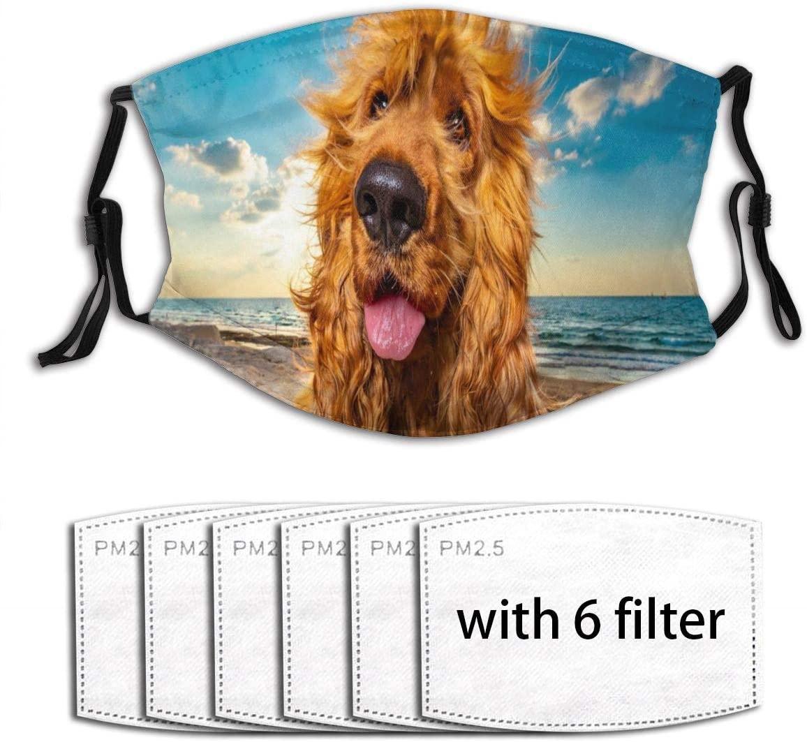 Ladninag Cute Funny Golden Retriever Dog Women's Men's Fashion Face Protective, Cloth Fabric Cotton Cover Protection, Unisex Bandana Balaclava with Fillter Dust, Washable, Reusable