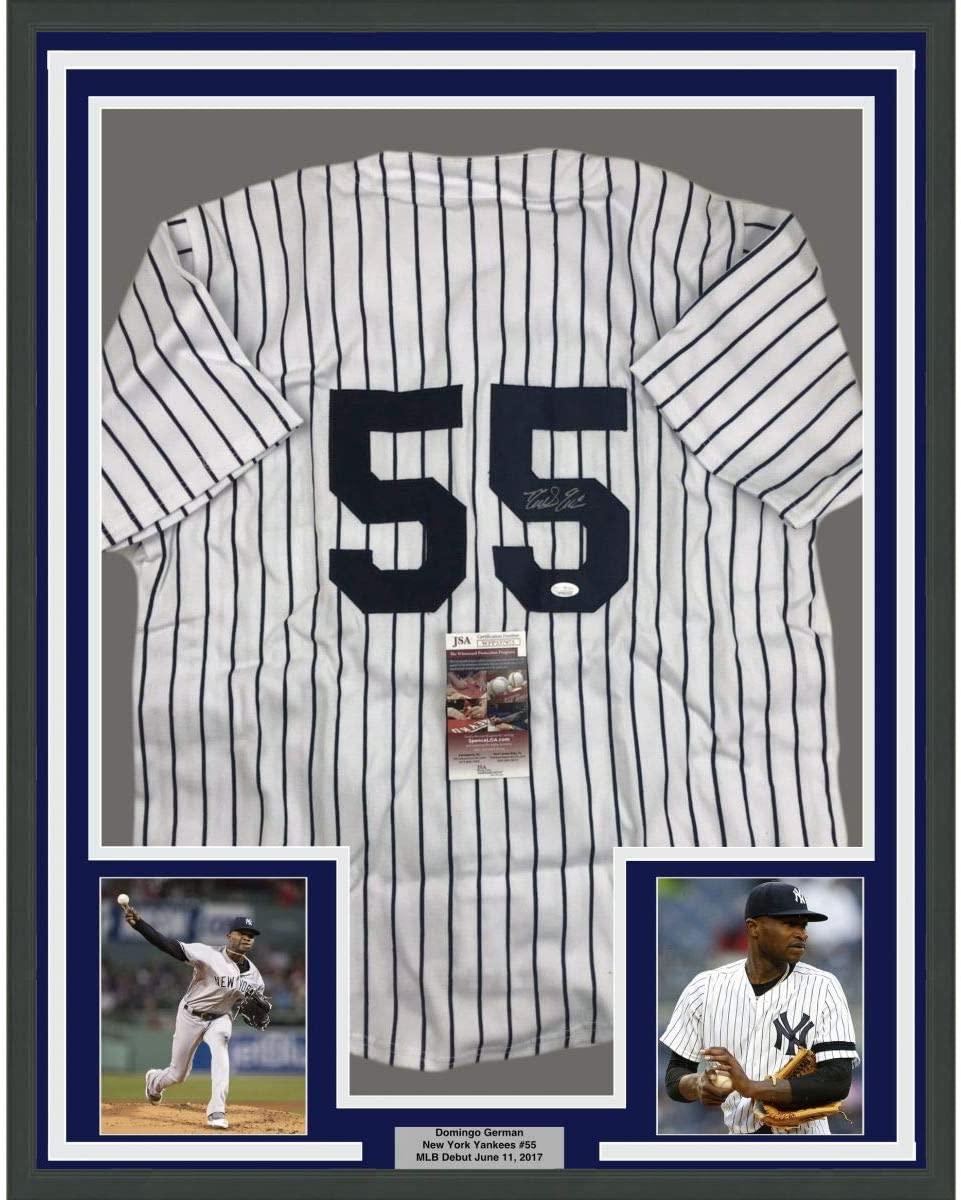 Framed Autographed/Signed Domingo German 33x42 New York Pinstripe Baseball Jersey JSA COA