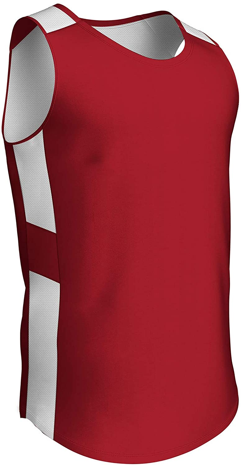 CHAMPRO Crossover Reversible Basketball Jersey, Women's Large, Scarlet, White