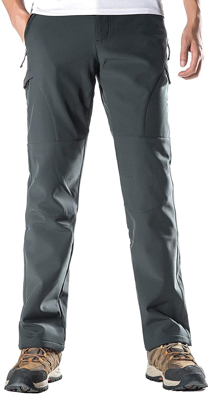 KORAMAN Mens Winter Snow Ski Pants Water-Repellent Windproof Softshell Fleece Outdoor Hiking