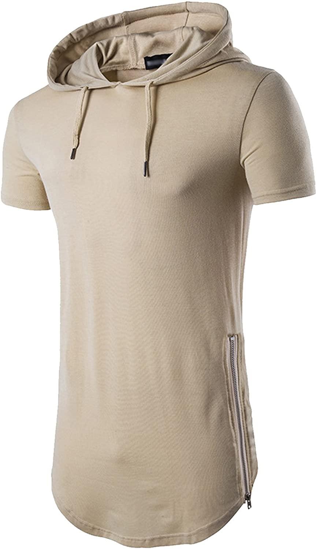 Topjack Mens Hipster Hip Hop Short Sleeve Longline Pullover Hoodies Shirts Zipper T-shirt Top