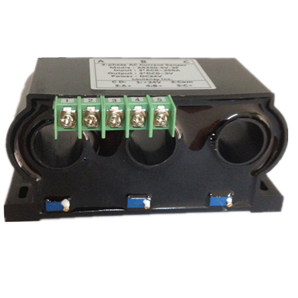 Loulensy 3-phase AC Current Sensor Transducer Transformer Transmitter with 3 Element 0-150A AC Output 0-5V DC