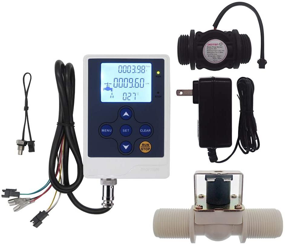 DIGITEN Water Flow Control LCD Display+G1Flow Sensor Meter+G1Solenoid Valve+12V power