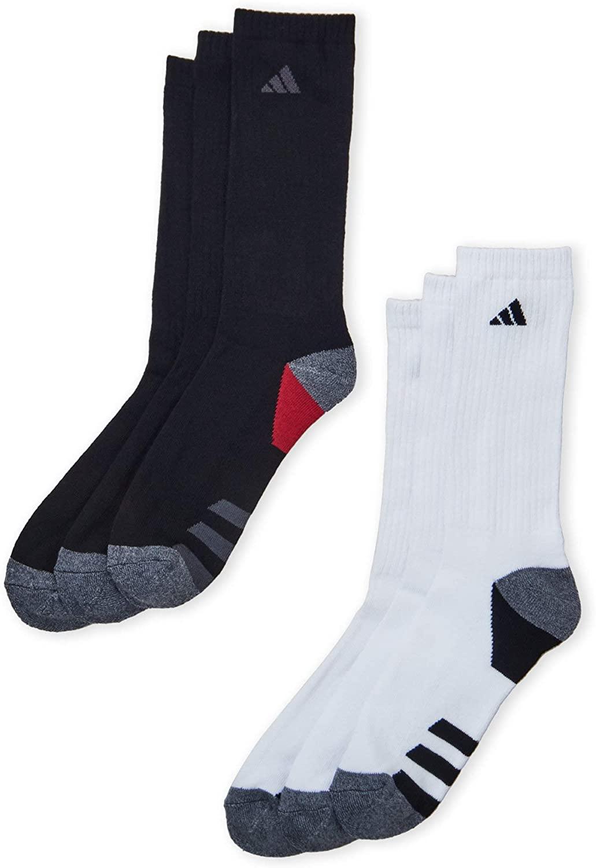 Adidas Men's Athletic Moisture Wicking Cushioned Crew Socks 6-Pack/ 6-Pair (Shoe Size 6-12) Black/White