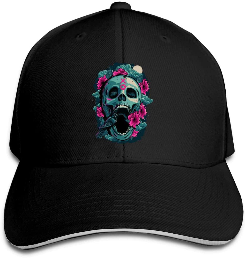 IASIFD Sk-u-ll Unisex Flex-fit Hat Hip Hop Baseball Cap Sun Hat Outdoor Cap Black