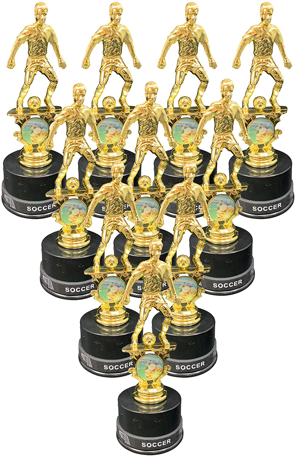 Express Medals Boys Soccer Trophy Award Kits That Include Silicone Soccer Wrist Band Awards (Pack of 10)