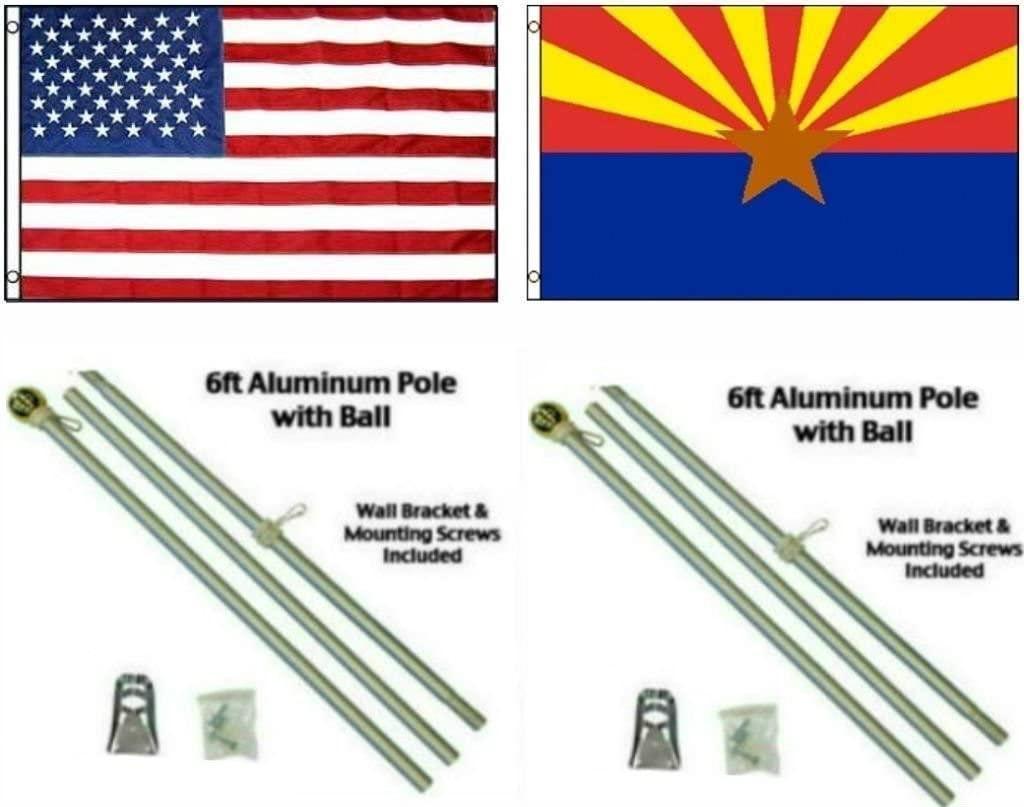 AES 3x5 3'x5' USA American w/State of Arizona Flag w/Two 6' Aluminum Flagpole Pole Kits Ball Topper
