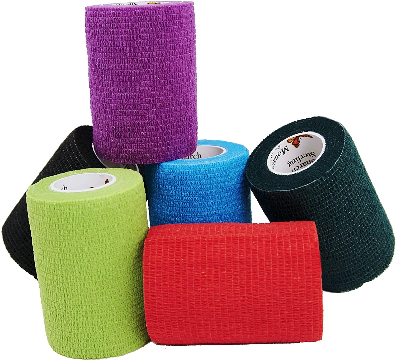 Elasti-Wrap 3 Inch Breathable Cohesive Bandage Latex Free, Self-Adherent, Self-Adhesive Elastic Vet Wrap Assorted Colors (6, 12, 18, 24 Pack)