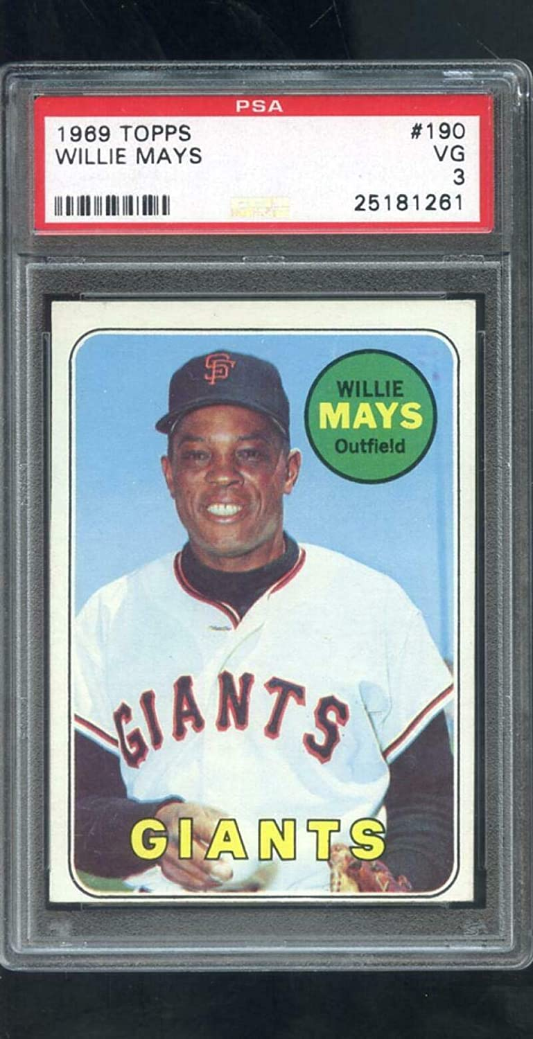 1969 Topps #190 Willie Mays San Francisco Giants 3 Graded Baseball Card MLB - PSA/DNA Certified - Slabbed Baseball Cards