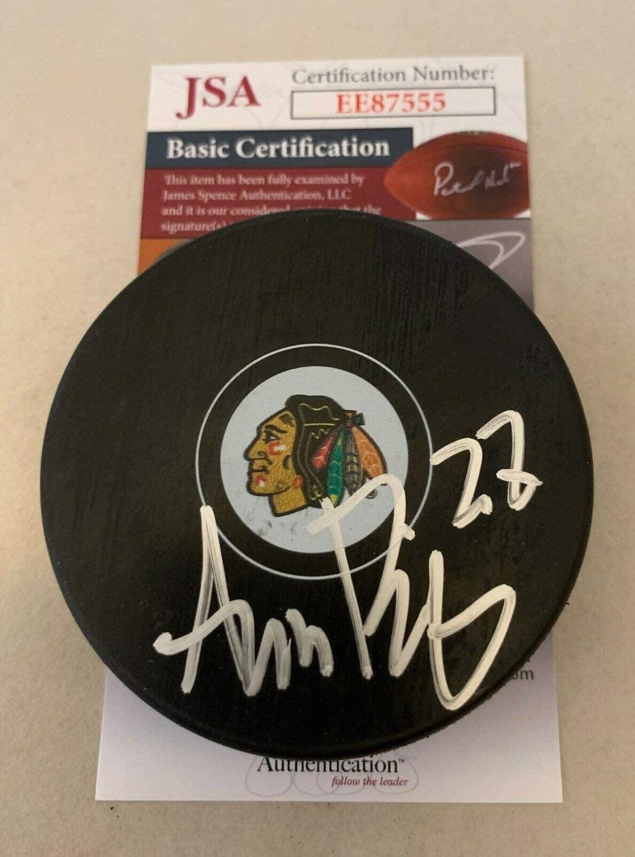 Adam Boqvist Autographed Signed Chicago Blackhawks Puck Autographed Hawks JSA