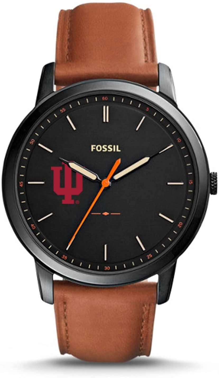 Fossil NCAA Indiana Hoosiers Mens The Minimalist Slim Three-Hand Watch, Light Brown, One Size