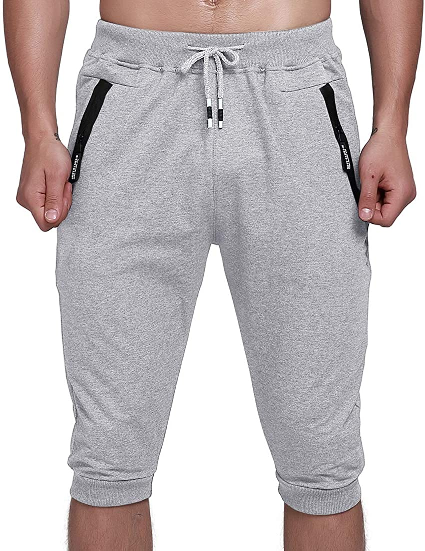 YSENTO Men's Gym Shorts 3/4 Jogger Capri Pants Workout Training Cropped Pants Zipper Pockets(Light Grey, US 30)