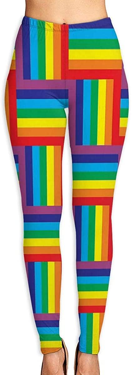 Yoga Pants for Women Womens Leggings Rainbows Squares Running Workout Capris Long Trousers Dance Gym
