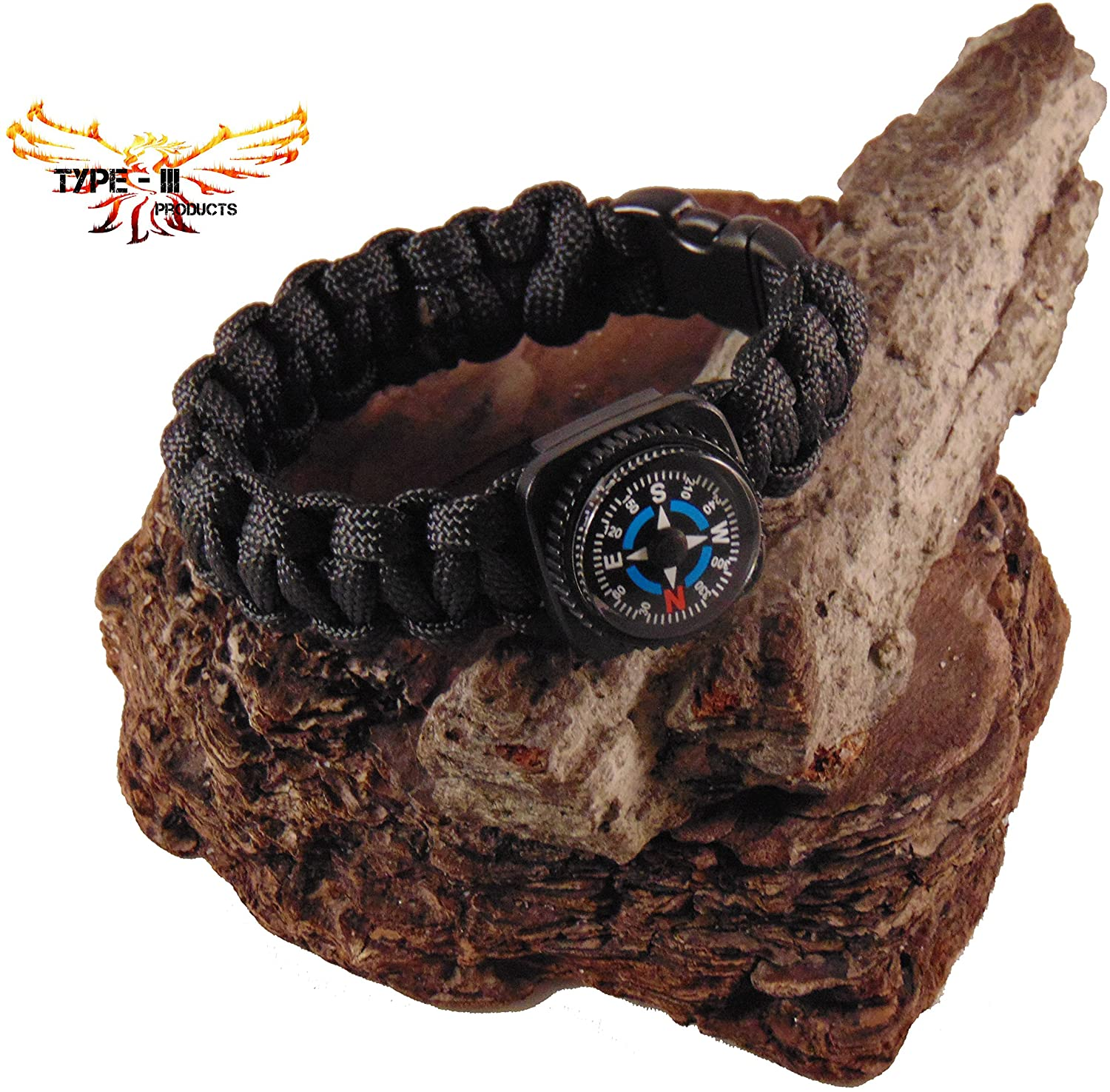 Type-III 7 Strand 550 Paracord Bracelet w/Compass in Solid Colors