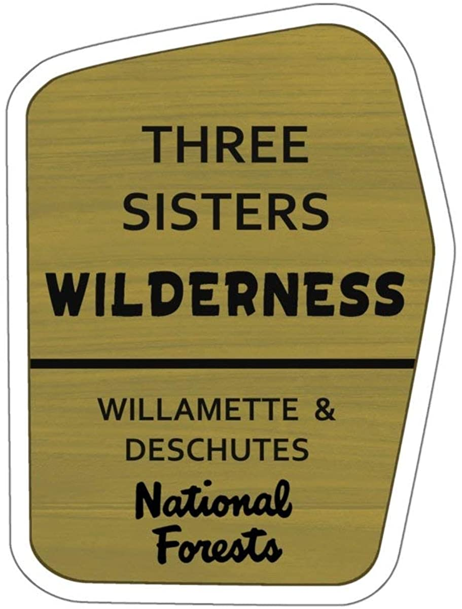 Three Sisters Wilderness Trail Sign Vinyl Sticker - OR Hiking/Camping Decal for Car, Laptop, and Water Bottle