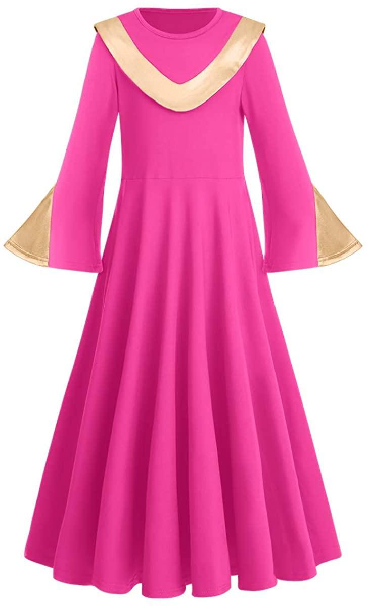Girl Metallic Liturgical Praise Dance Worship Dress Bi Block Loose Fit Full Length Dancewear Tunic Party Costume